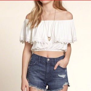 White off the shoulder ruffled lace top